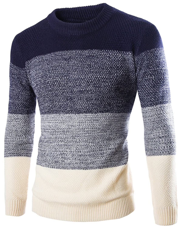 hot sale 2017 Jerséi para Hombre Ajuste Delgado Cuello Redondo Manga Larga  Pullover Suéter de Punto 0f6226027d7d5