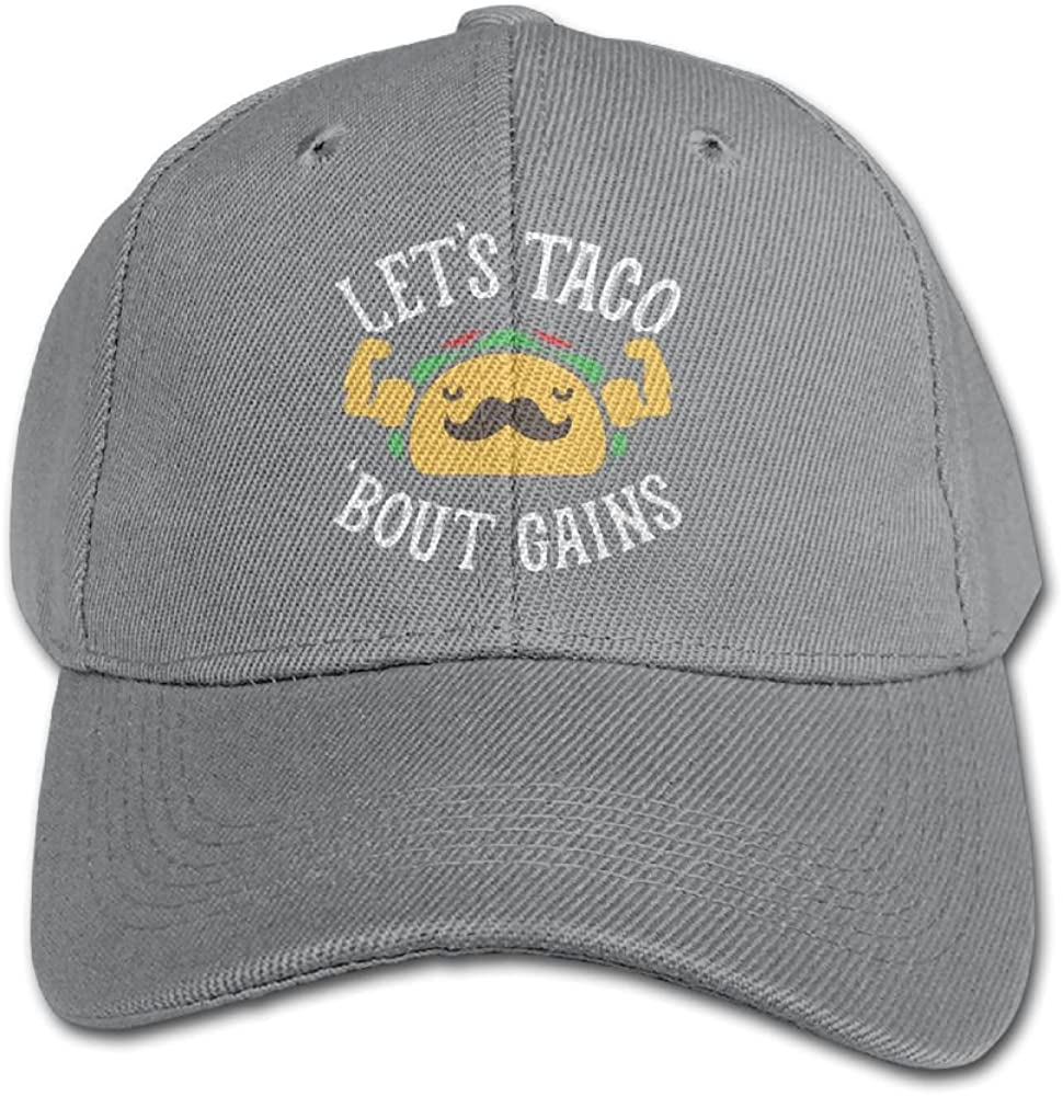 Haibaba Lets Taco Bout Gains Boys and Girls Black Baseball Caps Solid Hats