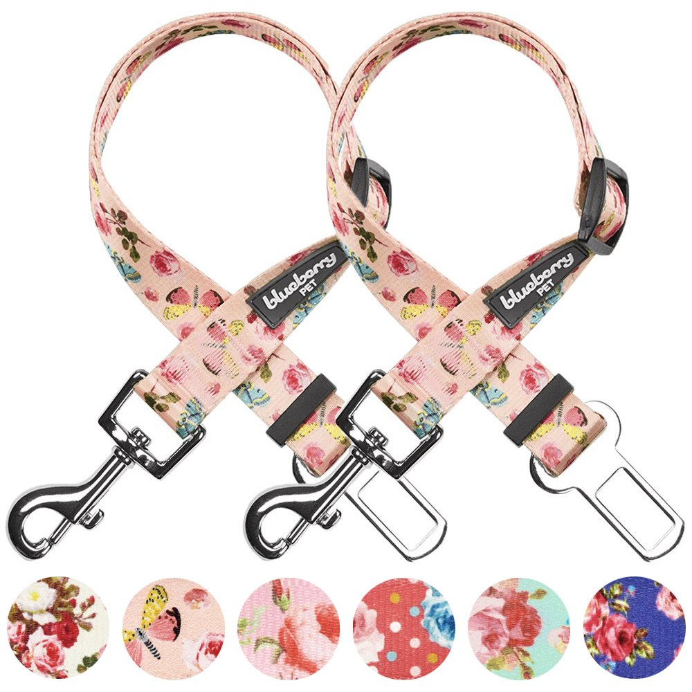 Blueberry Pet Pack of 2 Spring Scent Inspired Rose and Butterfly Print Pastel Pink Adjustable Dog Seat Belt Tether for Dogs Cats, Durable Safety Car Vehicle Seatbelts Leads Use with Harness