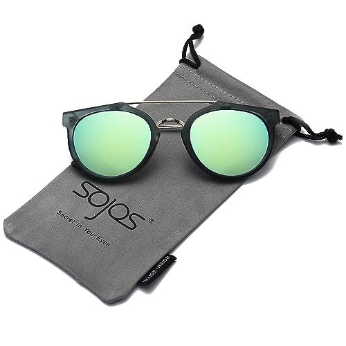 SojoS Schick classico retrò ponti metallici doppio specchio rotondo occhiali da sole per Uomo Donna