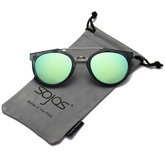 SOJOS Gafas De Sol Unisex Doble Puente Lentes Ovaladas Espejo SJ2032 Marco Mate Verde Oscuro/