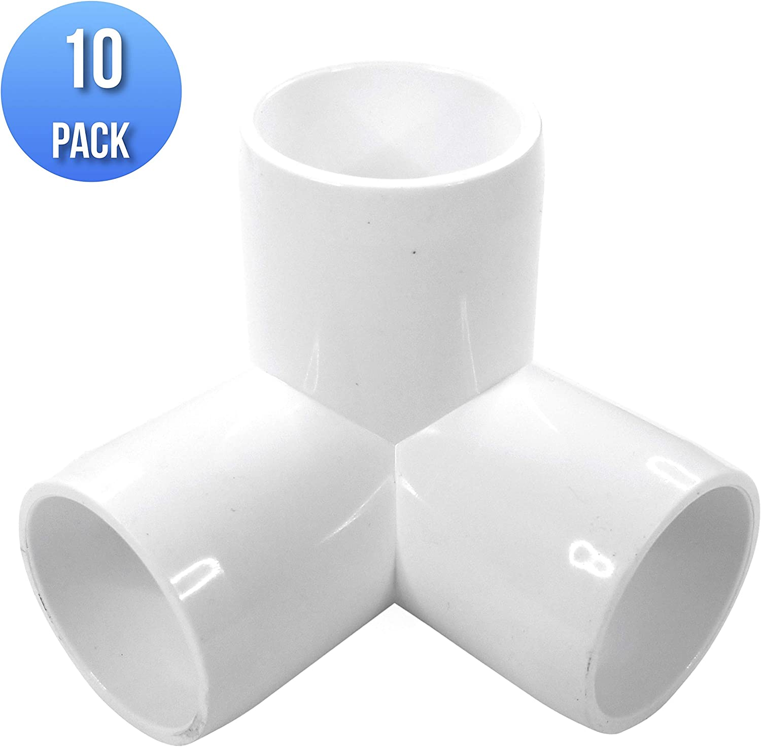 """(10-PACK) 3Way 3/4"""" inch SCH 40 PVC Fitting Elbow - Build Heavy Duty PVC Furniture - PVC Elbow Fittings (3/4 Inch)"""