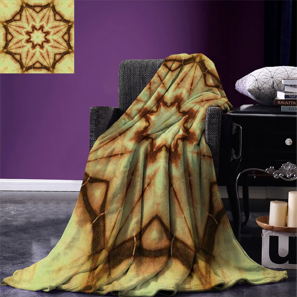smallbeefly Mandala Digital Printing Blanket Trippy Ethnic Thai Mandala Motif with Dirty Grunge Smear and Rough Stains Art Summer Quilt Comforter Mustard Brown by smallbeefly