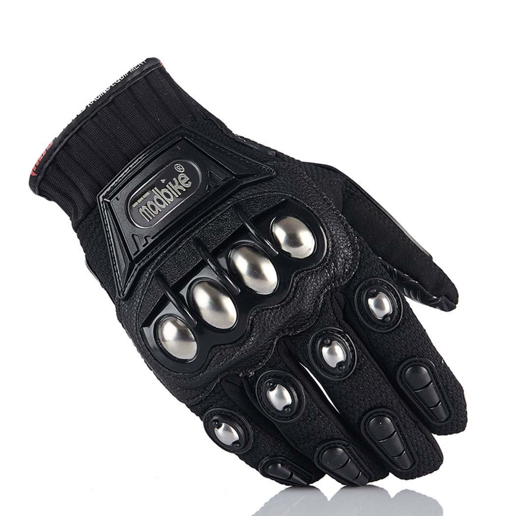 Motorcycle Gloves,Dirt Bike Motocross Motorbike Power Sports Racing Gloves Steel Reinforced Knuckle (Black,L)