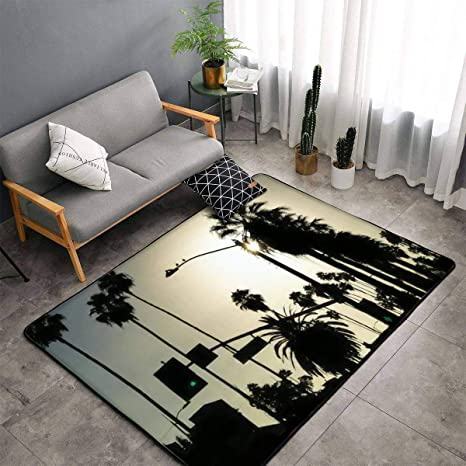 Los Angeles Palms Silhouette Hollywood California Area Rugs Floor Mat Non Slip Throw Rugs Soft Door Mat Nursery Carpet For Living Room Home Indoor Outdoor Runner Rugs Yoga Mat Kitchen