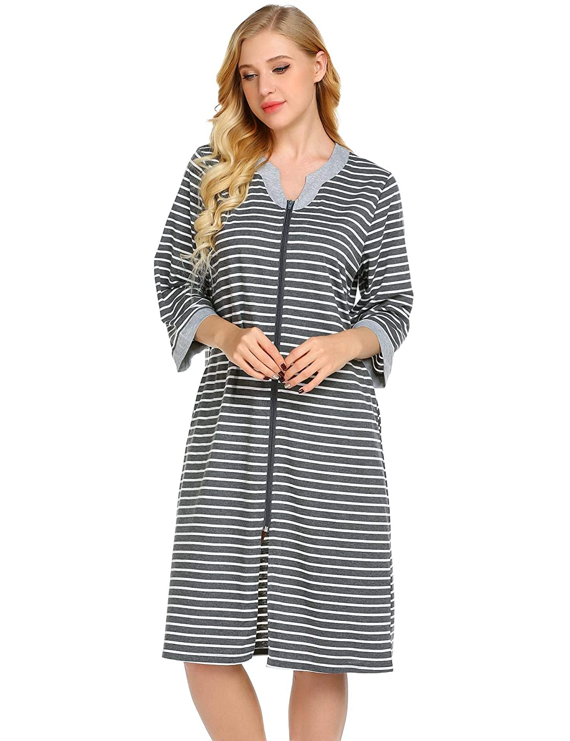 a6206bb1a2 Skylin Long Zipper Nightgown Robes Women Full Length House Coat with  Pockets Striped Sleepwear S-XXL at Amazon Women s Clothing store