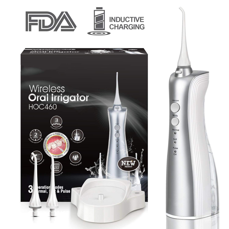 Cordless Water Flosser Oral Irrigator Dental Flosser Teeth Cleaner, Waterproof High-Frequency Pulsed Water Column Flosser, Water Dental Flosser for Braces Shower Kids