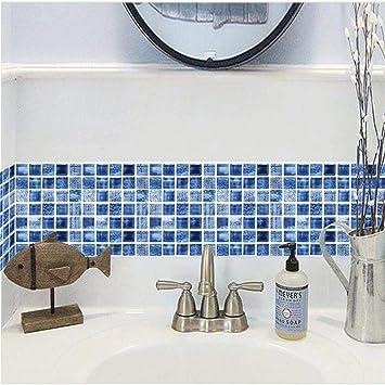 Set de 12 Pcs Stickers Carrelage 3D Vintage Bleu Adhésif Mural Cuisine  20x20 cm, Étanche DIY Autocollants Carrelage Cuisine et Salle de Bains, ...