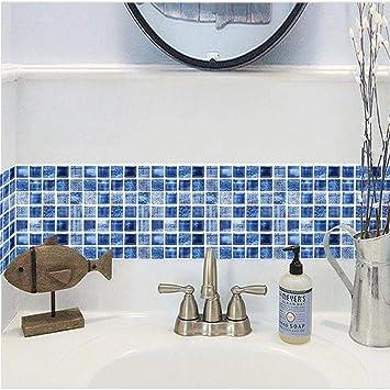 Set de 12 Pcs Stickers Carrelage 3D Vintage Bleu Adhésif Mural ...