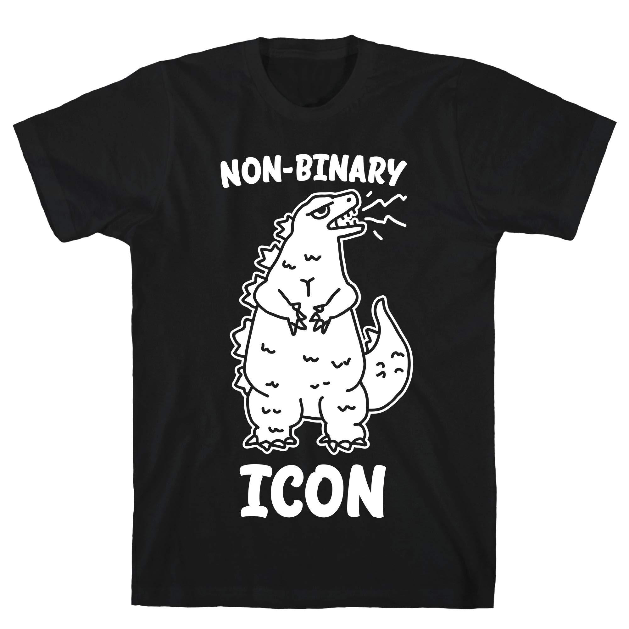 Non Binary Icon Black Unisex Ts Shirts
