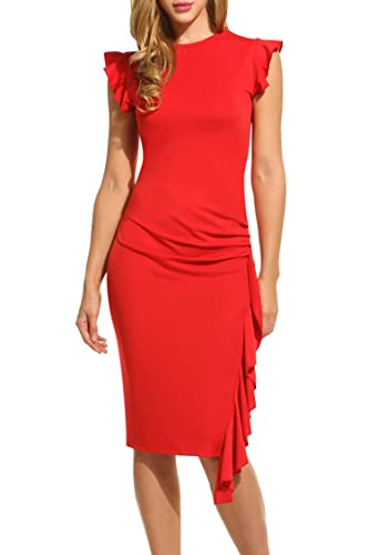 HOTOUCH Women's Retro Ruffles Capsleeve Slim Business Party Prom Bodycon Dress