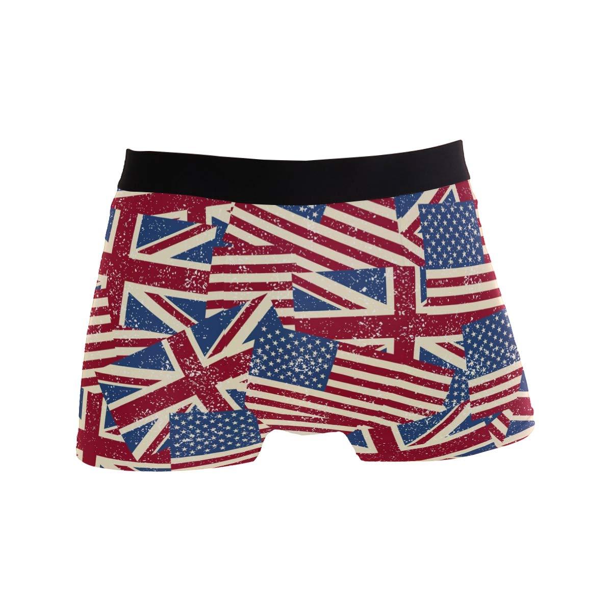 American and UK Flag Trunks for Men Boxer Briefs Mens Underwear