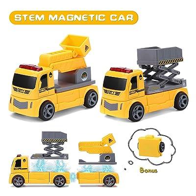Pickwoo Magnetic Construction Car DIY Assembled Car Sets for Kids STEM Magnetic Toys for Kids Ladder and Lifter DIY Assembled Construction Vehicle Set (P312 Ladder + Lifter): Toys & Games [5Bkhe0501804]