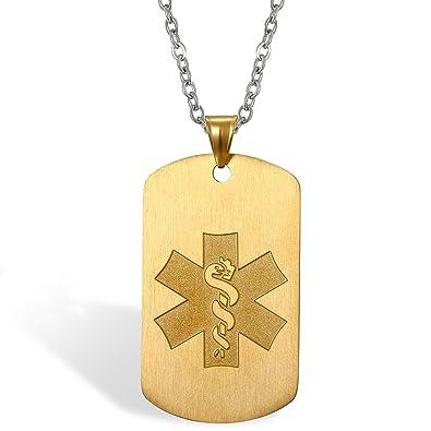 Flongo Placa Alerta Medica Personalizada, Collar de ...