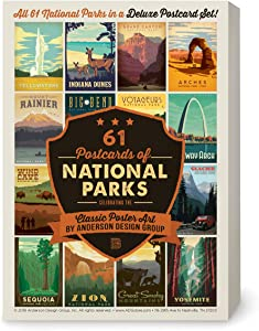Anderson Design Group Postcards 61 National Parks Classic Poster Art (Now Featuring Gateway Arch and Indiana Dunes National Parks!)