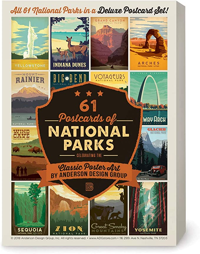 Anderson Design Group Postcards 61 National Parks Classic Poster Art Now Featuring Gateway Arch And Indiana Dunes National Parks Office Products