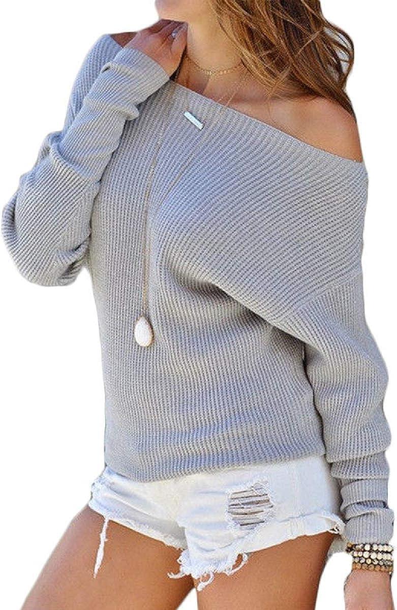 LAIKETE Maglia Spalle Scoperte Donna Eleganti Inverno Autunno Maniche Lunghe Pipistrello Senza Spalline Magliette Tumblr Ragazza Casual Camicette Oversize Blusa Simple Baggy Jumper Top Tinta Unita
