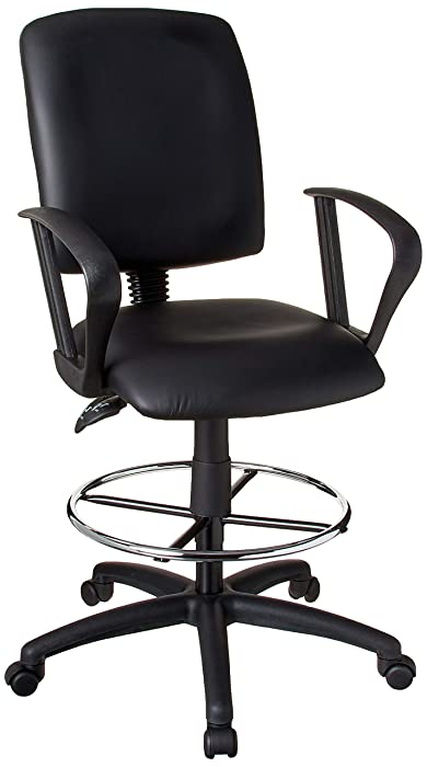 Boss Office Products Multi-Function LeatherPlus Drafting Stool with Loop Arms in Black