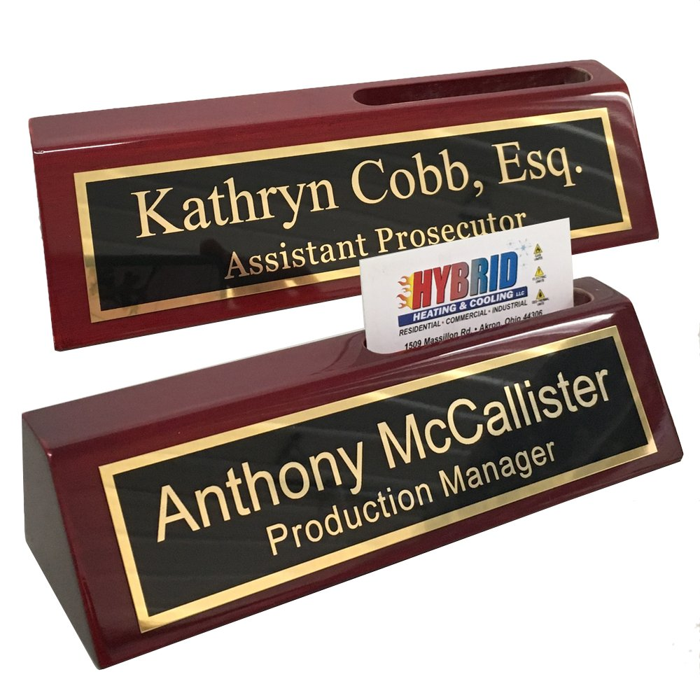 Personalized Engraved Business Desk Name Plate with Card Holder by Griffco Supply