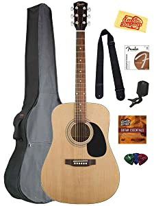 Fender Squier Acoustic Guitar Bundle with Gig Bag, Clip-On Tuner, Extra Strings, Strap, Picks, Austin Bazaar Instructional DVD, and Polishing Cloth - Natural
