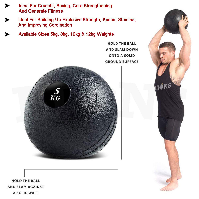 Lions 8kg 10kg 12kg Medicine Slam Rubber Balls Bootcamp Mma Fitness Gym Ball Grip Strength Training No Bounce Sports Outdoors