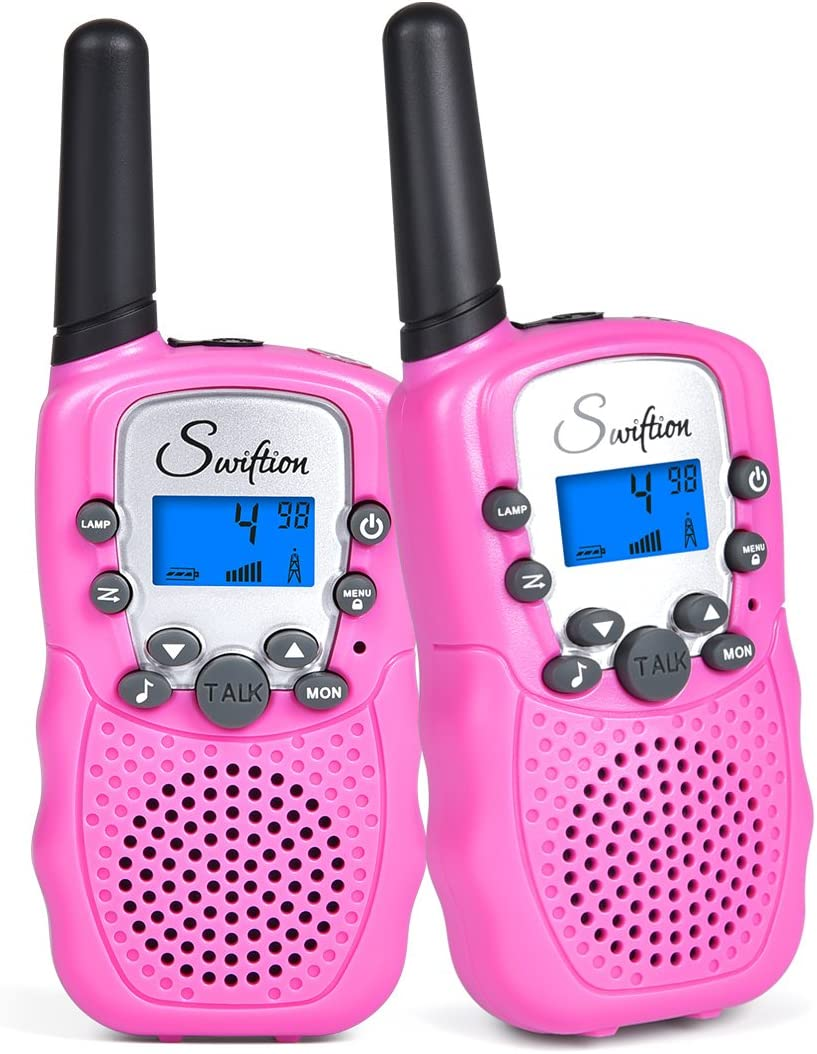 Swiftion Rechargeable Kids Walkie Talkies 22 Channel 0.5W FRS GMRS 2 Way Radios with Charger and Rechargeable Batteries Pink, Pack of 2