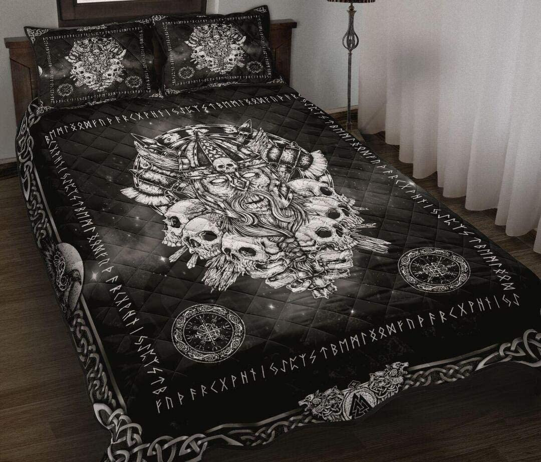 Nordic Viking Skull Quilt Quilt King Queen Twin Size Birthday New Year Gifts for Dad Mom Husband Wife Kids Son Daughter
