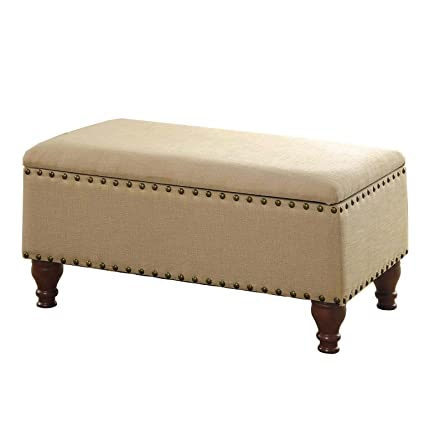 HomePop Linen Storage Bench With Nailhead Trim And Hinged Lid, 35.5 X  19.5u0026quot; X