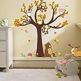 Ufengke® Dessin Animé Forêt Animaux Hibou Singe Ours Arbre Stickers Muraux,La Chambre Des Enfants Pépinière Autocollants Amovibles