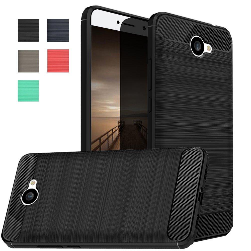 Dretal Huawei Ascend XT 2 Case, Huawei Elate 4G LTE Case, Carbon Fiber  Shock Resistant Brusd Texture Soft TPU Phone case Anti-Fingerprint Flexible