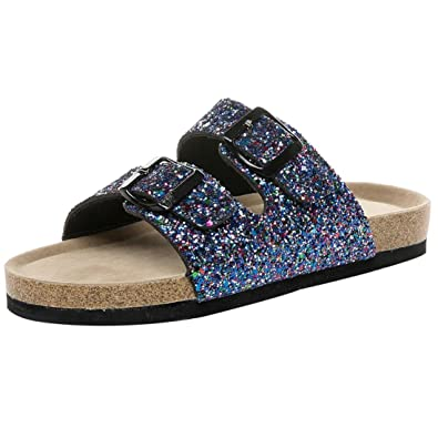 cb5819bfc HOMEBABY Women Sequined Cross Toe Double Buckle Strap Cork Flat Sandals  Beach Slippers - Summer Vintage Girls Ladies Casual Flip Flops Sandals  ...