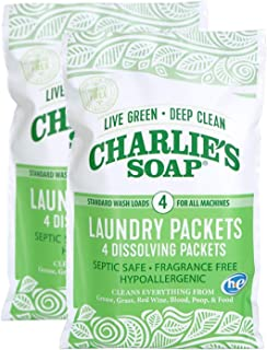 product image for Charlie's Soap - Unscented Laundry Packets - Travel Size (2 Pack, 8 Total Loads)
