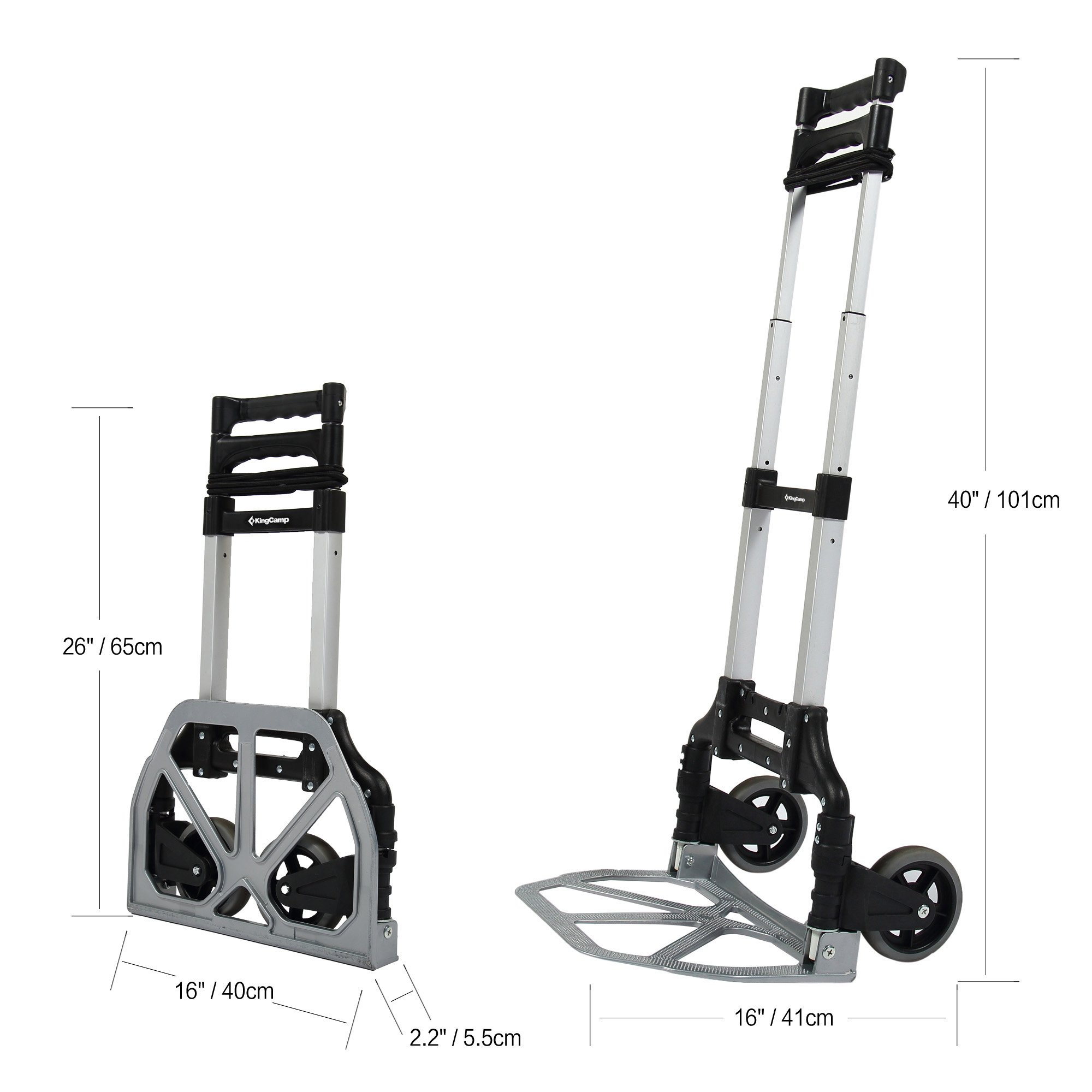 KingCamp Folding Cart 150 lbs Capacity Hand Truck with Bungee Cord by KingCamp (Image #2)