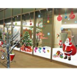 ufengke® XLarge Merry Christmas Santa Claus Christmas Tree Christmas Stockings Christmas Gifts Wall Decals, Living Room Bedroom Shop Window Removable Wall Stickers Murals, Set of 2 Sheets