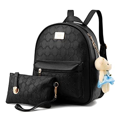 d94a4ed5ad34 Hynbase Set of 2 Women Fashion Leisure Leather Schoolbag Backpack ...