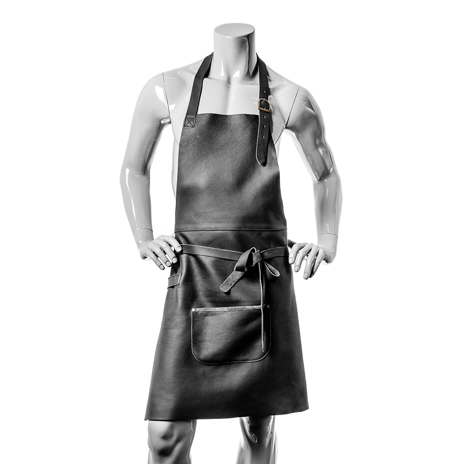 Vedgla leather BBQ / Cooking / Barman' s apron, high quality leather with adjustable straps and perfect fit, 84 cm x 70 cm, in black