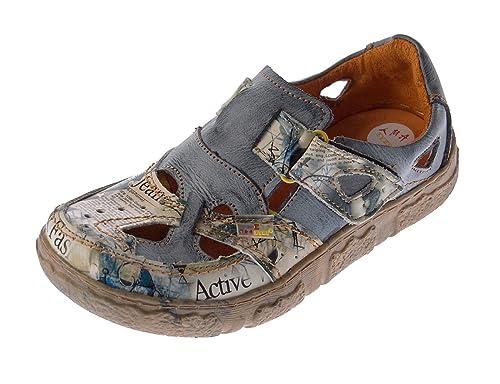 9ffbdac3e3df14 TMA Damen Comfort Leder Sandaletten 7008 Schuhe Grau-Schwarz Zeitungsdruck  Halbschuhe Sandalen Gr. 36