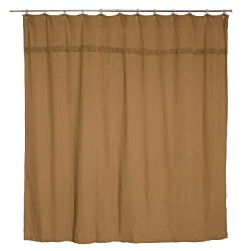 VHC Brands 6172 Burlap Natural Shower Curtain Unlined 72x72 72 X