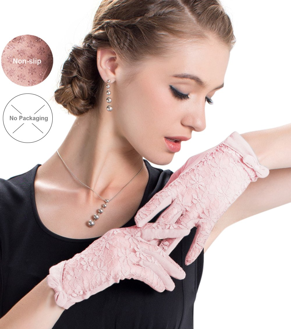 Womne's Bridal Wedding Lace Gloves Derby Tea Party Gloves Victorian Gothic for Lady (ONESIZE, Pink (no packag box))