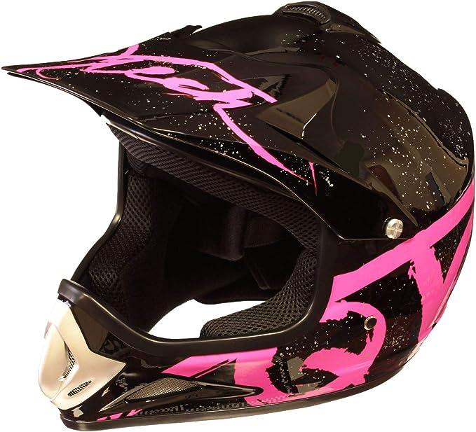 XS 51-52cm Rose Casque de Moto pour Enfant Motocross Cross Off-Road BMX Cycle Noir Mat ATV Quad