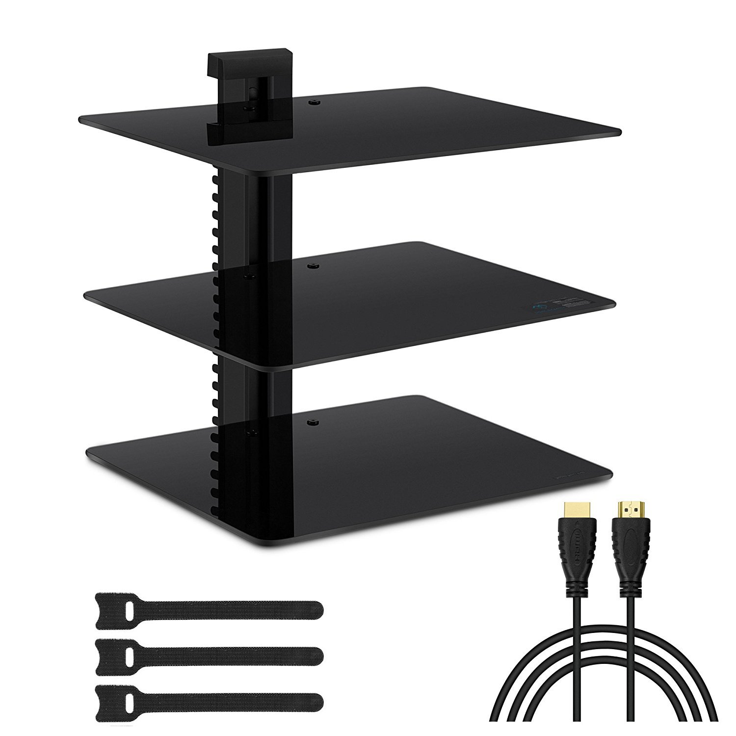 Wall Mount Shelf Bracket 3 Tempered Glass Shelves Floating Cable Box