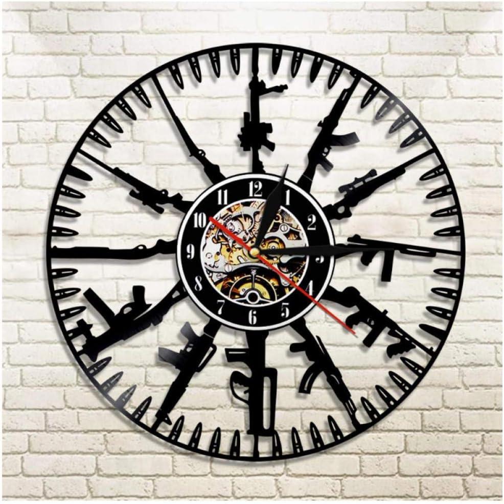 Discos de Vinilo Pistolas y municiones Grabación de CD Moda Arte Decoración Decoración PVC Reloj de Pared Reloj silencioso Vinilo Mural 7 Colores LED