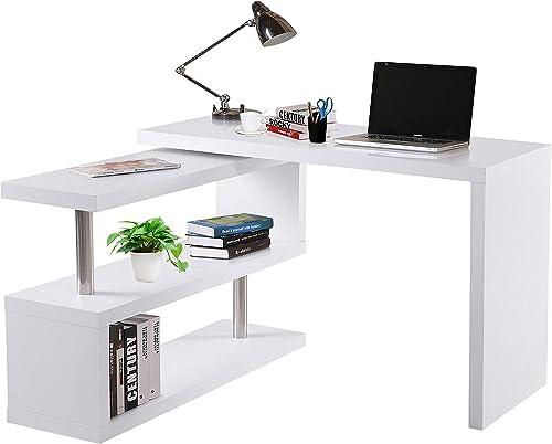 HOMCOM 360 Rotating Corner Computer Desk Modern L-Shaped Home Office Workstation