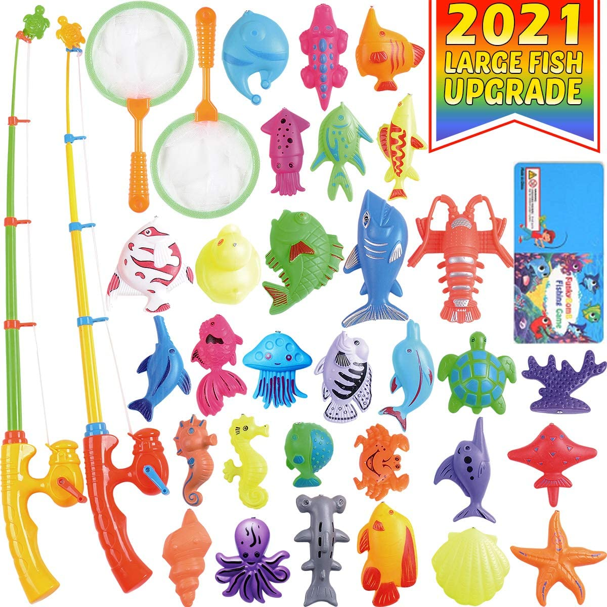 CozyBomB Magnetic Fishing Pool Toys Game for Kids – Water Table Bathtub Kiddie Party Toy with Pole Rod Net Plastic Floating Fish Toddler Color Ocean Sea Animals Age 3 4 5 6 Year Old