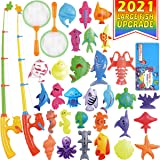 CozyBomB Magnetic Fishing Pool Toys Game for Kids - Water Table Bathtub Kiddie Party Toy with Pole Rod Net Plastic Floating F
