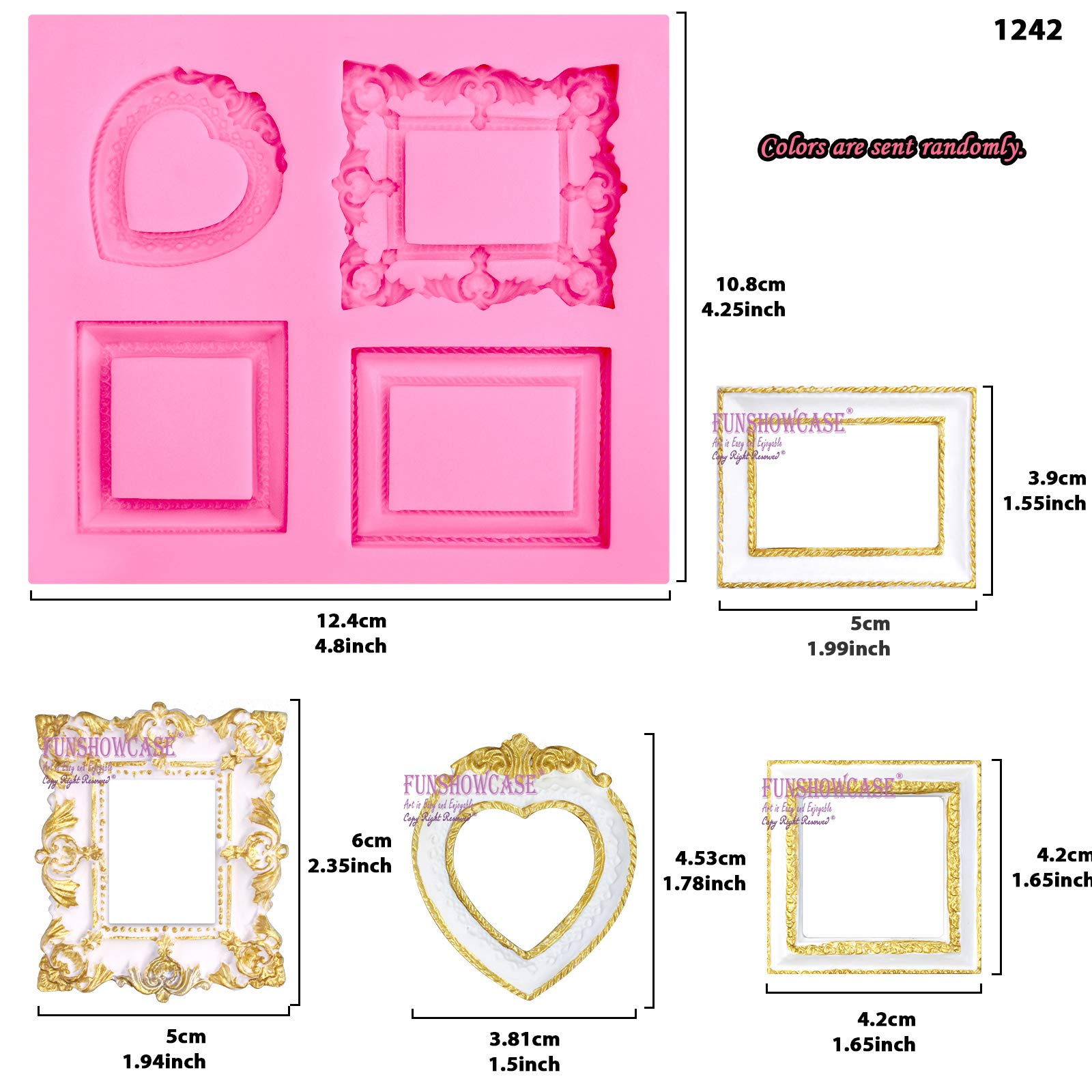 Funshowcase Mirror Frame Candy Silicone Mold, 3 in Set for Sugarcraft, Cake Decoration, Cupcake Topper, Chocolate, Fondant, Jewelry, Polymer Clay, Epoxy Resin, Crafting Projects by FUNSHOWCASE (Image #2)