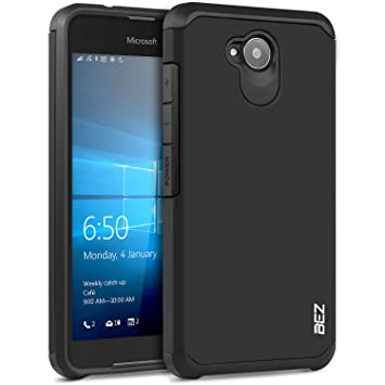 watch 33346 5175f Microsoft Lumia 650 Case, BEZ® Shockproof Case Cover, Shock Absorbing Case  Best Heavy Duty Dual Layer Tough Cover for Microsoft Lumia 650 - Black