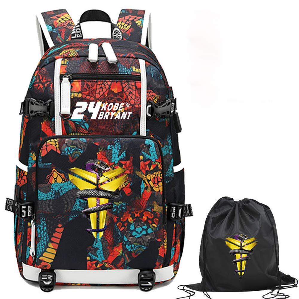 mothgel Basketball Star Black Mamba Series Outdoor Backpack Travel Fashion Student Backpack Fans Bookbag for Men Women (Backpack-Kobe)