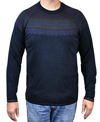 Lululemon Mens Sweater Days Crew Fair Isle Nordic Navy Blue Merino ...