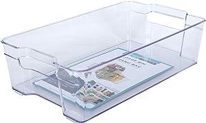 "Kitchen Spaces KSL12-AMZ Large Bin Food Storage Organizer for Fridge and Pantry, 14.1"" x 8.4"" x 3.9"", Clear"